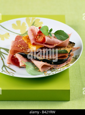 ham and grilled vegetable layer - Stock Photo
