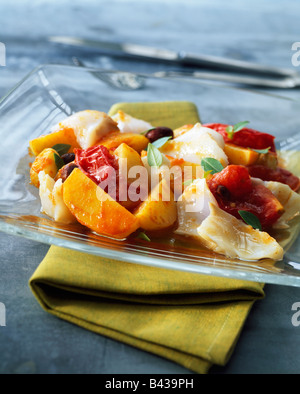 Cod and southern vegetable salad - Stock Photo