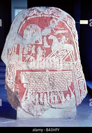 middle ages, Vikings, runes, rune stone depicting boat, god Wotan, goddess Frigga, stone from Tjangvide, Gotland, - Stock Photo