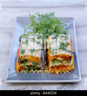 Vegetable Mile-feuille with chervil and coriander sauce - Stock Photo