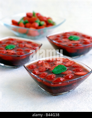 Strawberry soup with fresh mint - Stock Photo