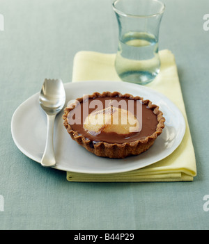 Chocolate and pear tartlet - Stock Photo