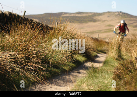 mountain biking in the peak district,derbyshire,UK - Stock Photo