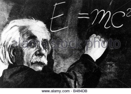 Einstein, Albert, 14.3.1879 - 18.4.1955, German scientist (physicist), portrait, writing formula at blackboard, - Stockfoto