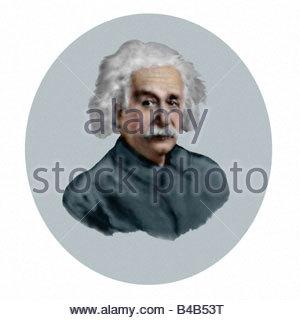 Albert Einstein 1879 1955 German Mathematical Physicist Oil Sketch Style Modern Illustration - Stockfoto