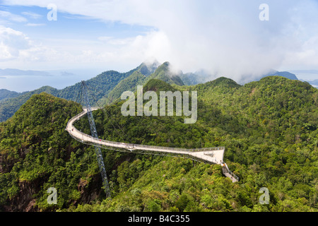 Asia, Malaysia, Langkawi Island, Pulau Langkawi, Hanging suspension walkway above the rainforest canopy - Stock Photo