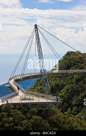 Asia, Malaysia, Langkawi Island, Pulau Langkawi Hanging suspension walkway above the rainforest canopy - Stock Photo