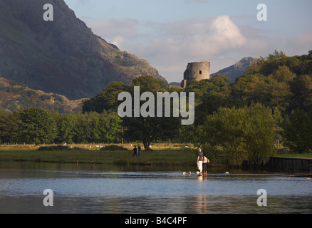 Dolbadarn Castle over Llyn Padarn, Snowdonia, Wales - Stock Photo