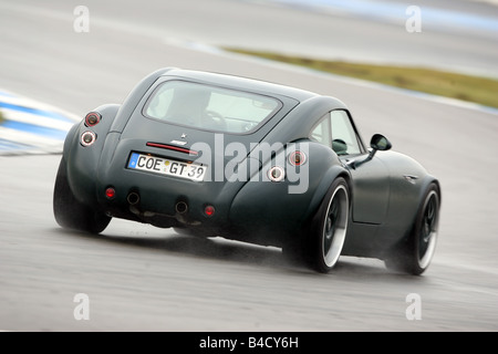 Wiesmann GT, driving, diagonal from the back, rear view, test track - Stock Photo