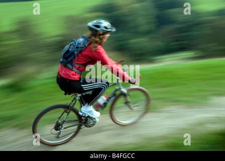 Mountain biking Hayfield Peak District National Park Derbyshire England UK GB - Stock Photo