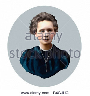 Marie Curie 1867 1934 Polish born French Physicist Oil Sketch Style Modern Illustration - Stock Photo