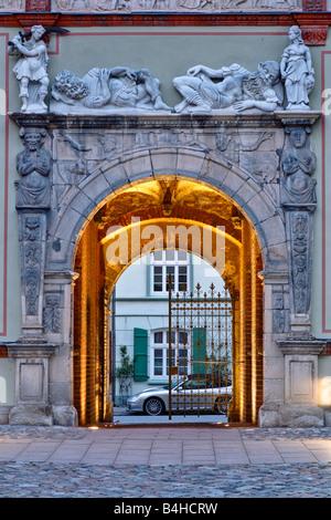 Facade of building, Wismar, Mecklenburg-Western Pomerania, Germany - Stock Photo