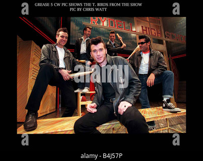 Grease musical Edinburgh Playhouse September 1997 Ian Kelsey actor as Danny with the T Birds on stage - Stock Photo