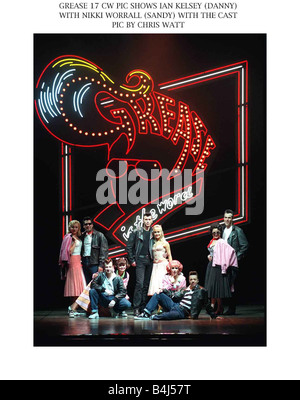 Grease musical Edinburgh Playhouse September 1997 Ian Kelsey actor as Danny and Nikki Worrall as Sandy with the - Stock Photo