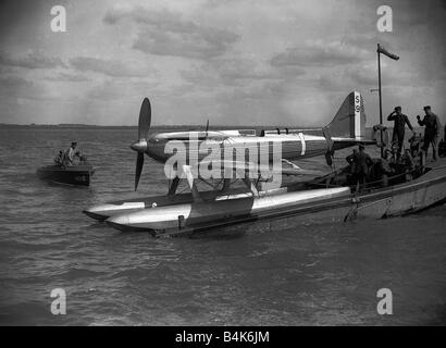 A Supermarine S6B Seaplane powered by a Rolls Royce engine seen here being prepared for the 1931 Schneider Trophy - Stock Photo