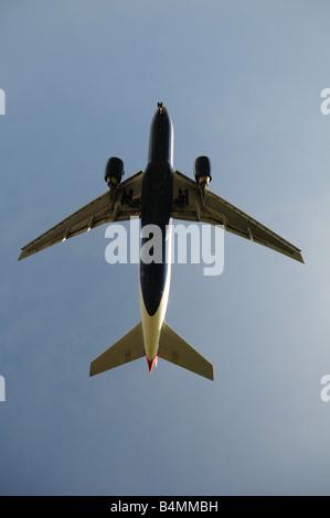 British Airways Boeing 777 236 ER Airplane coming in to land at heathrow Airport London Britain Uk england - Stock Photo