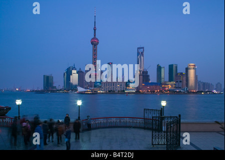 China, Shanghai, Pudong District, Buildings of Pudong from the Huangpu River - Stock Photo