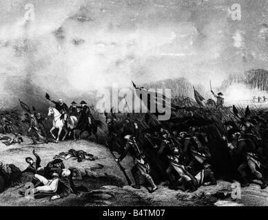 events, American Revolutionary War 1775 - 1783, Battle of Princeton, New Jersey, 3.1.1777, wood engraving after - Stock Photo