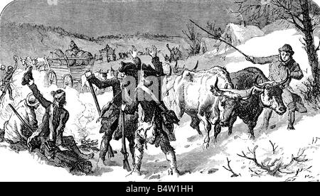 events, American Revolutionary War 1775 - 1783, winter camp Continental Army at Valley Forge, Pennsylvania, 1777 - Stock Photo