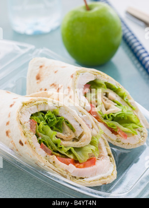 Chicken Salad Tortilla Wrap With A Green Apple And Water - Stock Photo