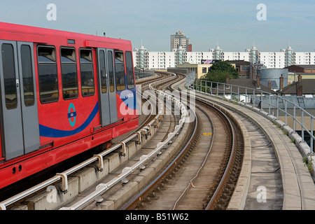Canning Town east London on the DLR - Docklands Light Railway - Stock Photo