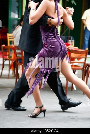 Couple dancing tango at La Boca district Buenos Aires Argentina - Stock Photo