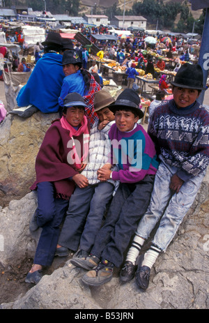 Market day Zumbahua Cotopaxi Province Ecuador South America - Stock Photo