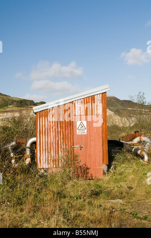 Corrugated Steel Hut, Clay Country Cornwall UK - Stock Photo