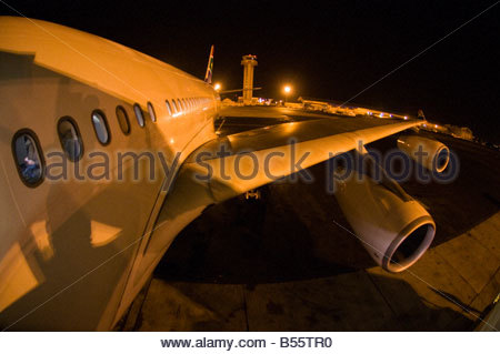 South African Airways Airbus A340 600 Jet on a tarmac during a refueling stop in Dakar Senegal - Stock Photo