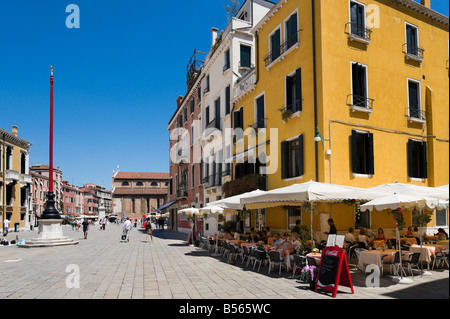 Restaurant in Campo Santo Stefano in the district of San Marco, Venice, Veneto, Italy - Stock Photo