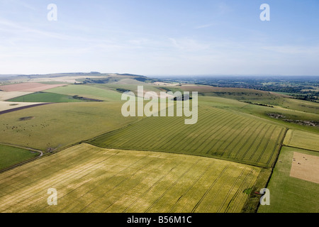 Aerial view of sussex fields - Stock Photo