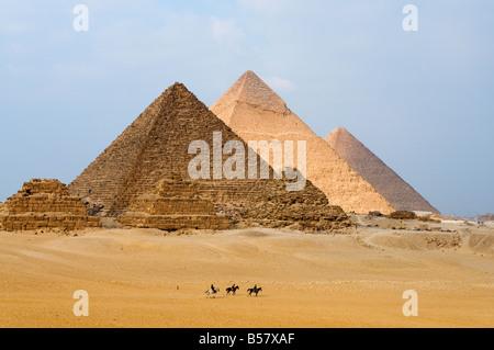 The Pyramids of Giza, Giza, UNESCO World Heritage Site, near Cairo, Egypt, North Africa, Africa - Stock Photo