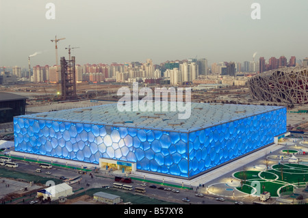 The Water Cube National Aquatics Center swimming arena and National Stadium at the Olympic Park, Beijing, China, - Stock Photo