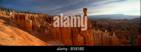Backlit hoodoos and Thor's Hammer at sunrise, Bryce Canyon National Park, Utah, United States of America, North - Stock Photo