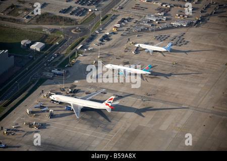 Aerial view London Gatwick Airport Larkins Road British Airways First Choice Excel Airways aeroplanes Crawley West - Stock Photo