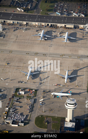 Aerial view north west of London Gatwick Airport aeroplanes communications tower car park Crawley West Sussex RH6 - Stock Photo
