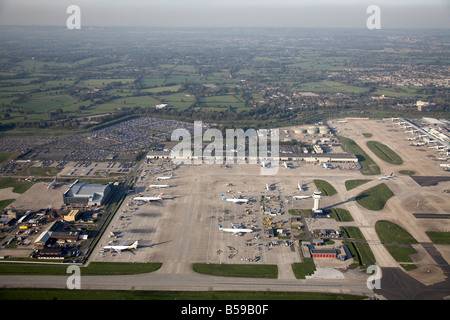 Aerial view north west of London Gatwick Airport runways aeroplanes country fields Crawley West Sussex RH6 England - Stock Photo