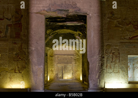 Inner sanctuary of temple of Seti I in Abydos, Egypt - Stock Photo