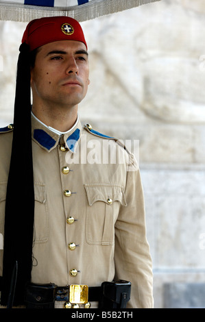 Traditionally dressed soldier, an Evzone, gaurding the Greek Parliament in Athens. - Stock Photo