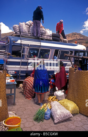 Ecuadorian people person vendors at market day Zumbahua Cotopaxi Province Ecuador South America - Stock Photo