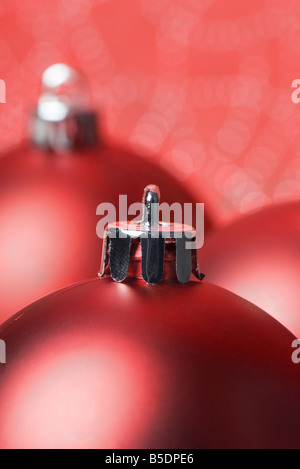 Several red Christmas tree ornaments - Stock Photo