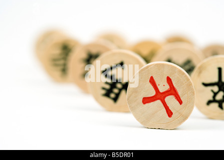 Chinese chess pieces, extreme close-up - Stock Photo