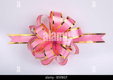 pink christmas gift ribbon and bow - Stock Photo