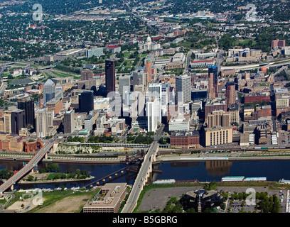 aerial view above St Paul Minnesota - Stock Photo