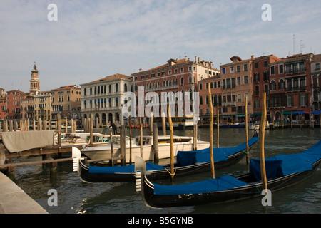 Gondolas on Grande Canal Venice Italy Europe EU - Stock Photo
