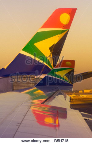 South African Airways jets at OR Tambo International Airport Johannesburg South Africa - Stock Photo