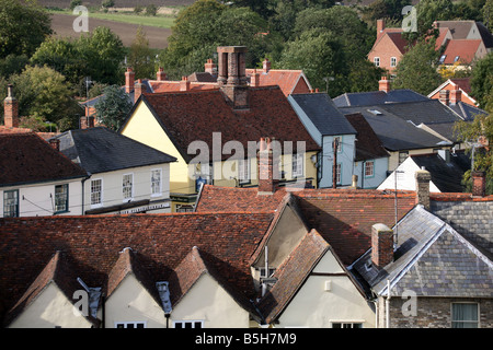 Rooftops View of the small town of Clare in Suffolk - Stock Photo