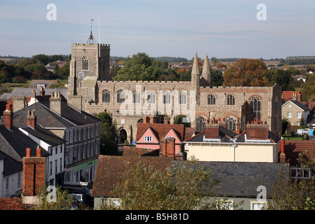 View of the small town of Clare in Suffolk showing St Peter and St Paul Church - Stock Photo