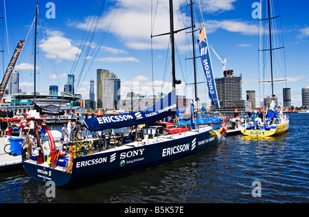 Melbourne Docklands / Open 70 Ocean Racing Boats berthed in Melbourne Docklands. Melbourne Victoria Australia. - Stock Photo