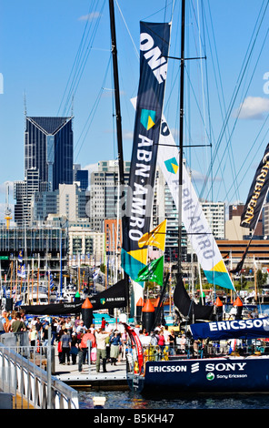 Melbourne Docklands / Open 70 Ocean Racing Boats berthed in Melbourne Victoria Australia - Stock Photo